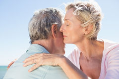 Senior woman hugging her partner Royalty Free Stock Photos
