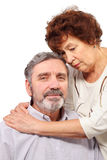 Senior woman hugs seat man Royalty Free Stock Image