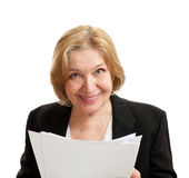 Senior Woman In Black On White Background Stock Photography