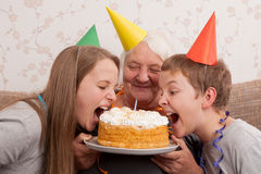 Senior woman and its grandsons with birthday cake Stock Photos