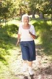 Senior Woman Jogging In Park Stock Images