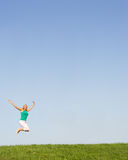 Senior woman jumping in air Royalty Free Stock Image