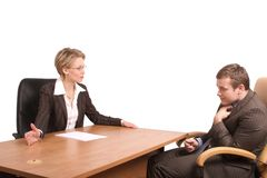 Senior woman junior man business talk - reprimand Stock Images