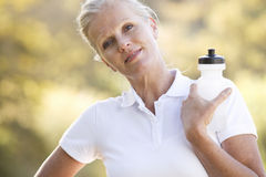 A senior woman keeping fit Stock Photo