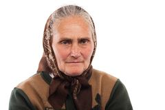Senior woman with kerchief Stock Images