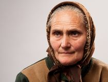 Senior woman with kerchief Royalty Free Stock Image