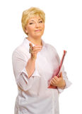 Senior woman with keys and folder Stock Images