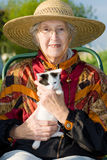 Senior woman with kitten. royalty free stock images