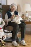 Senior Woman knitting Stock Photography