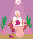 Senior woman knitting Royalty Free Stock Image