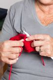 Senior Woman Knitting Stock Photos