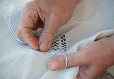 Senior Woman knitting Stock Images