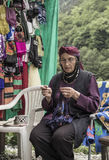 Senior woman knitting, wearing traditional clothes in Rize city of Turkey Stock Image