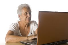 Senior woman on laptop Royalty Free Stock Photo
