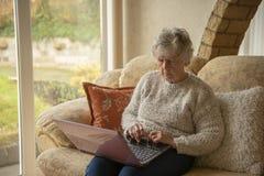 Senior woman on laptop royalty free stock image