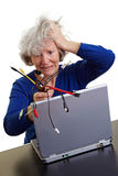 Senior woman with laptop and many Royalty Free Stock Images
