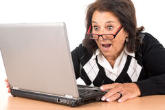 Senior woman with laptop Stock Photography