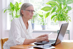 Senior woman laptop tax declaration Stock Images
