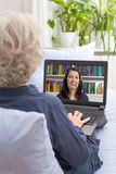 Senior woman laptop video call Stock Photography