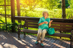 Senior woman is laughing. Stock Photos