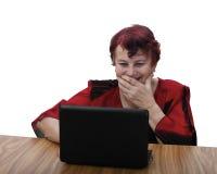 Senior woman laughs Royalty Free Stock Photos