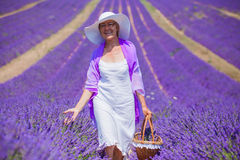 Senior woman in the lavander fields. Royalty Free Stock Image