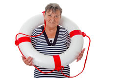 Senior woman with lifebelt Stock Photography