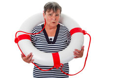 Senior woman with lifesaver. Isolated Stock Photography
