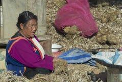 Senior woman of Lisu ethnic group sorts garlic in Chiang Mai, Thailand. Stock Photos