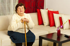 Senior woman in living room Stock Photography
