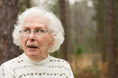 Senior Woman looking skeptical Royalty Free Stock Image
