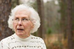 Senior Woman looking skeptical Royalty Free Stock Image