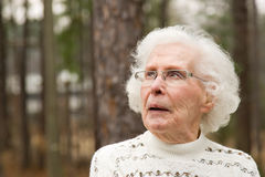 Senior Woman looking upward Royalty Free Stock Photos