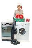 Senior woman make Christmas promotion stock photo