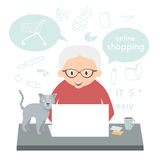 Senior woman makes a purchase over the Internet at home. Grandmother makes Internet shopping. Stock Photos