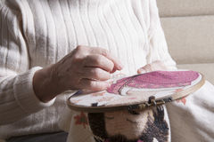 Senior Woman Making Embroider In Hoop Stock Photos