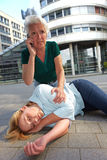 Senior woman making emergency call Stock Photo
