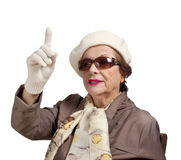 Senior woman making finger sign Stock Image