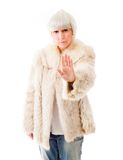Senior woman making stop gesture sign Royalty Free Stock Photography
