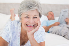 Senior woman with man in bed Stock Photography