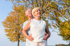 Senior woman and man, couple, embracing each other Royalty Free Stock Photos