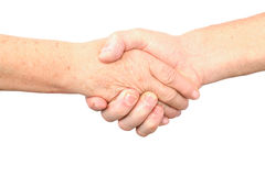 Senior woman, man handshake gesture Royalty Free Stock Photo