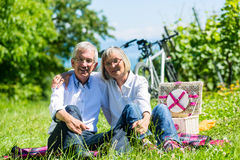 Senior woman and man having picnic on meadow Stock Images