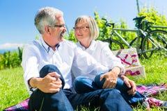 Senior woman and man having picnic on meadow Stock Photo