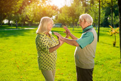 Senior woman and man outdoor. Stock Image