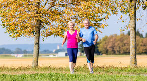 Senior woman and man running doing fitness exercises Royalty Free Stock Photography