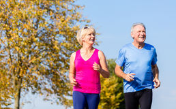 Senior woman and man running doing fitness exercises. Senior women and men running doing fitness exercises Royalty Free Stock Photo