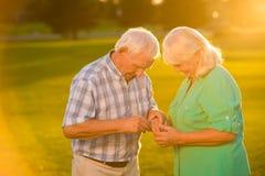 Senior woman and man. Stock Photos
