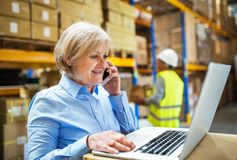 Senior woman manager with smartphone and man worker working in a warehouse. Senior woman manager with laptop and smartphone and man worker working in a Stock Image