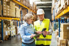 Senior woman manager and man worker working in a warehouse. Senior women manager and a men worker with barcode scanner working together in a warehouse Stock Photography